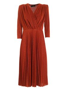 Clips - Pleated dress in lamè rust color