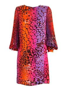 Clips - Pleated sleeves multicolor animal print dress