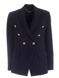 Clips - Golden buttons double-breasted jacket in black