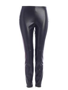 Clips - Synthetic leather leggings in black