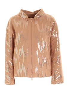 Clips - Micro sequins jacket in camel color