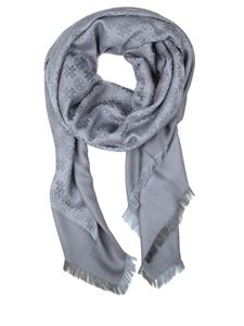 Tory Burch - Logo jacquard wool blend scarf in grey