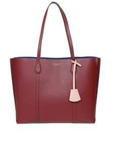 Tory Burch - Perry hammered leather tote in red
