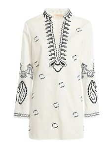 Tory Burch - Embroidered cotton tunic in cream color