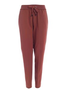 Le Tricot Perugia - Pants in rust color featuring knitted detail