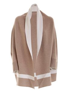 Le Tricot Perugia - Ecru and sand-colored cape