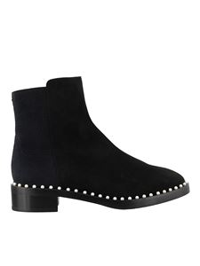 Stuart Weitzman - Easyon bead embellished suede ankle boots in black