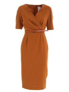 Max Mara Studio - Camelia brown dress featuring short sleeves