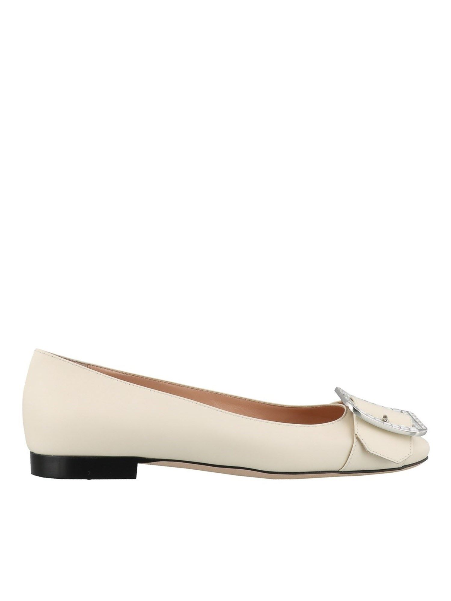 Bally JACKIE CRYSTAL BUCKLE FLATS IN CREAM COLOR