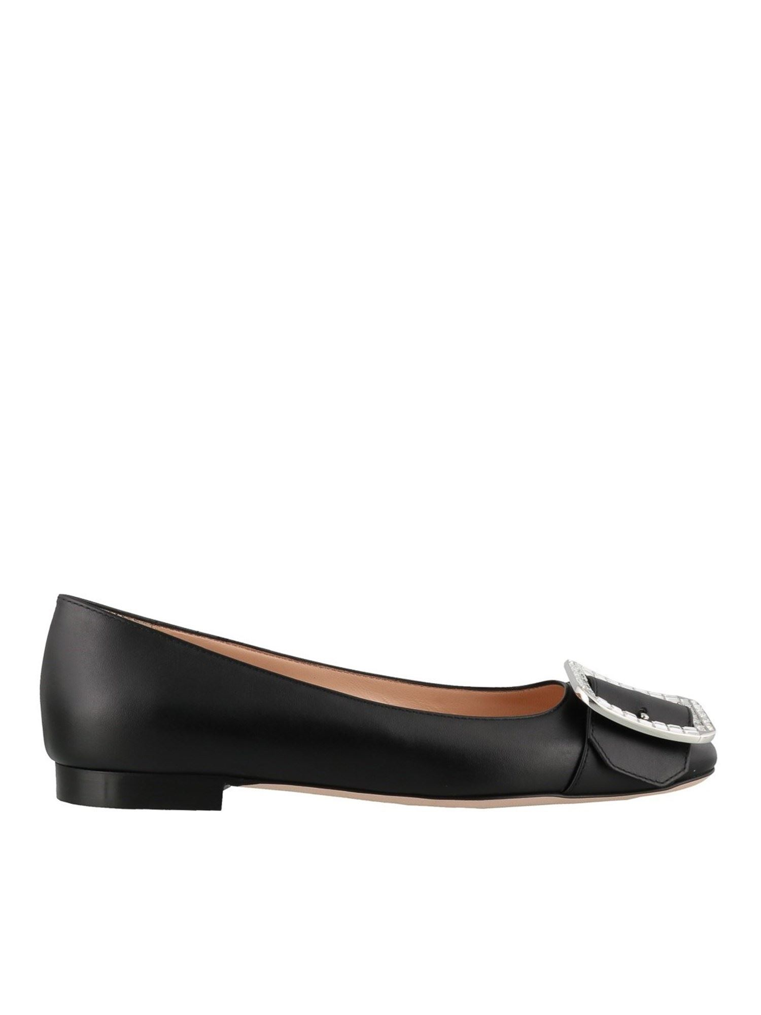 Bally BLACK JACKIE BALLET FLATS WITH CRYSTAL BUCKLE