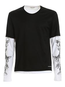 Alexander McQueen - Double cotton T-shirt in black and white