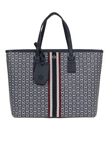 Tory Burch - Gemini link canvas small tote in blue
