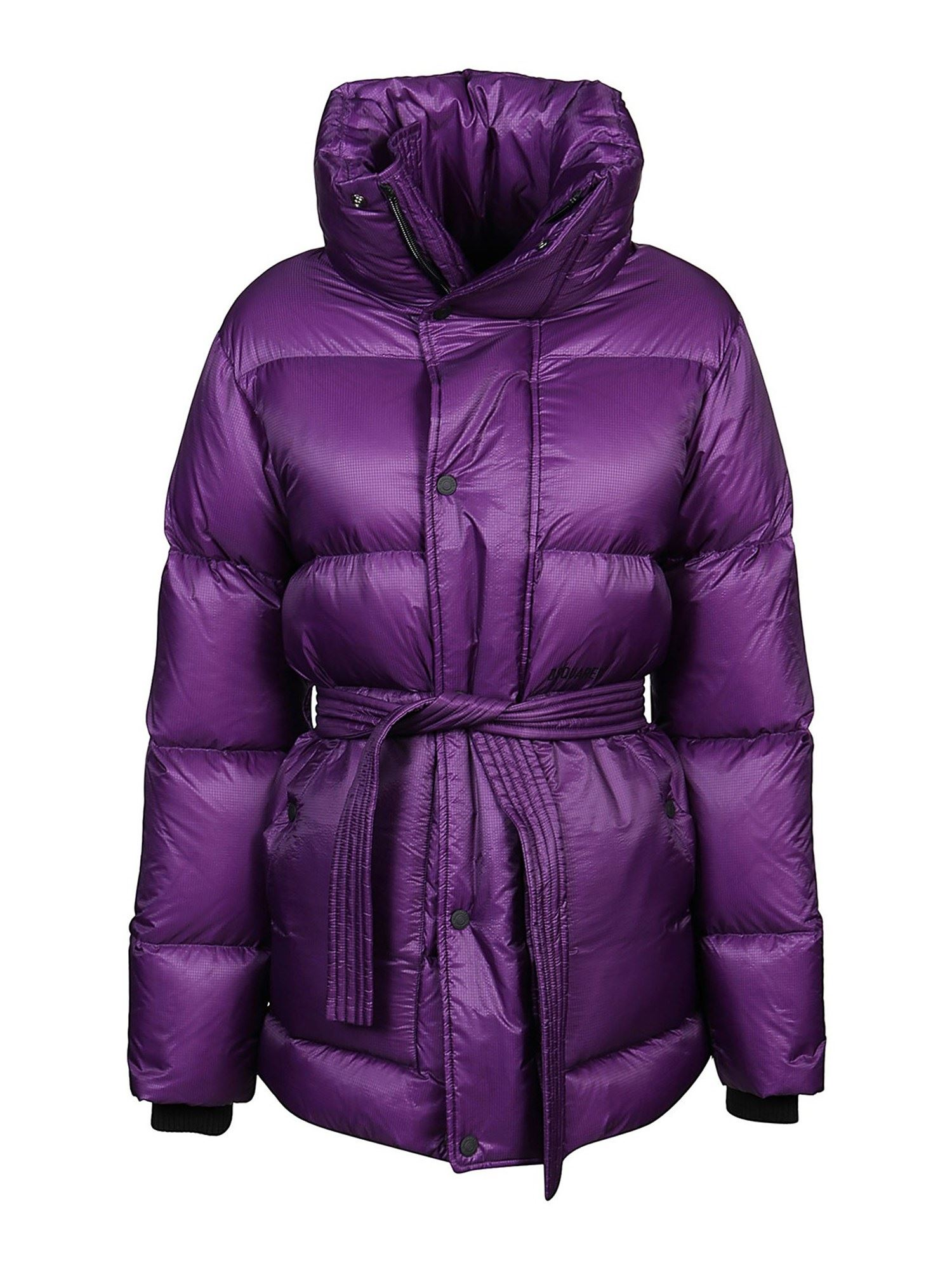 Dsquared2 QUILTED FABRIC COAT IN VIOLET