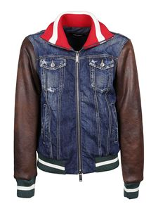 Dsquared2 - Blue denim jacket with faux leather sleeves