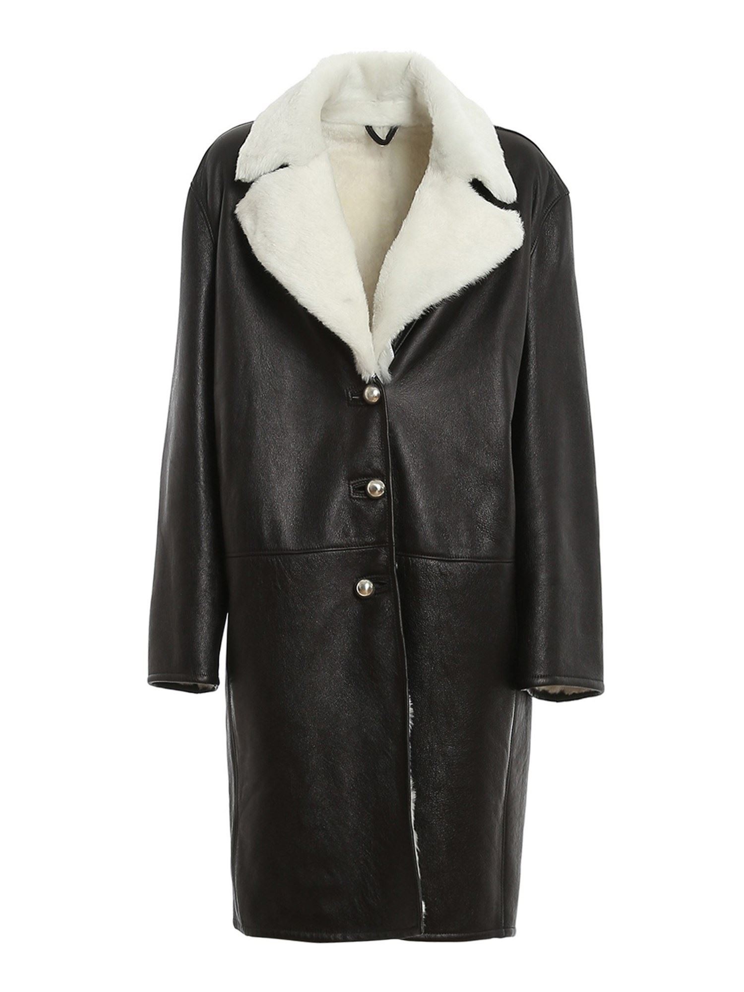 Ermanno Scervino SHEARLING MIDI COAT IN BLACK