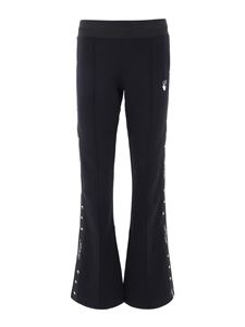 Off-White - Black joggers in cotton blend with logoed bands
