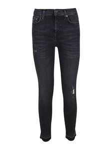 7 For All Mankind - The Skinny Crop Unrolled jeans in black