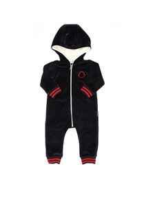 Moncler Jr - Blue romper suit featuring hood
