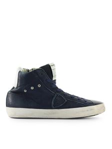 Philippe Model - Blue high-top sneaker in vintage-effect leather