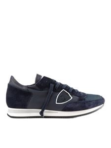Philippe Model - Tropez blue leather and suede sneakers