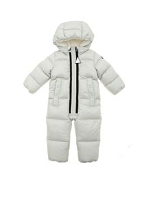 Moncler Jr - Padded romper suit in ice color featuring hood