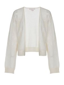 Genny - Circular texture cardigan in white