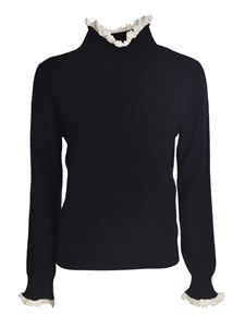 Celine - Black sweater with ruffles on the edges