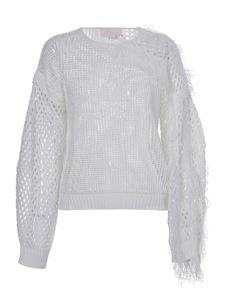 Genny - Drilled pullover with fringes in white