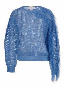 Genny - Drilled pullover with fringes in blue