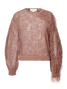 Genny - Drilled pullover with fringes in light brown