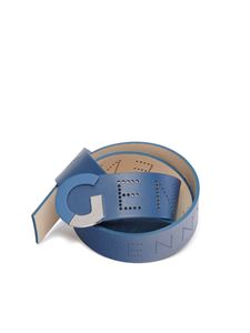 Genny - Belt in blue with drilled logo