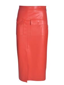 MSGM - Coral red faux leather skirt