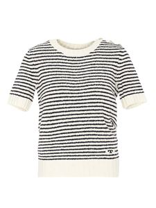 Tory Burch - Striped white bouclé T-shirt