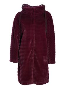 Herno - Long faux fur in burgundy color