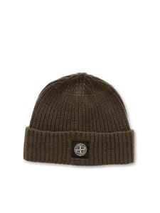 Stone Island - Logo ribbed beanie in green