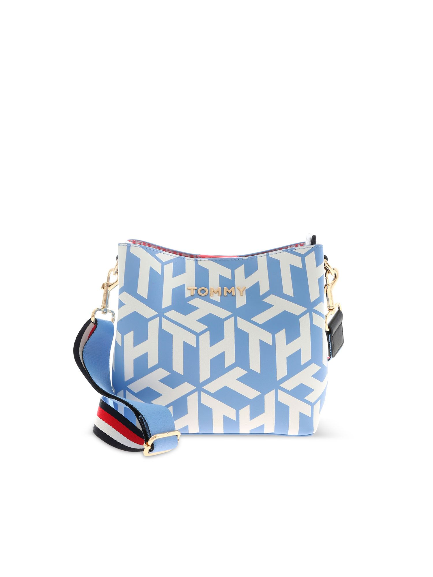 Tommy Hilfiger ICONIC TOMMY BUCKET BAG IN LIGHT BLUE AND WHITE