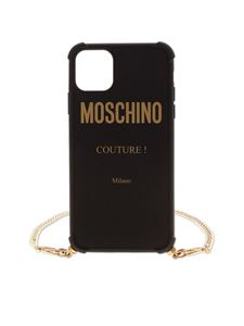 Moschino - Cover nera per iPhone 11 Pro Max con logo Moschino