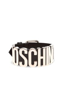 Moschino - Silver buckle and logo bracelet in black