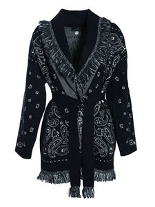 Alanui - Cardigan in black with cashmere pattern