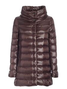 Herno - Iconico collection long down jacket in mud color