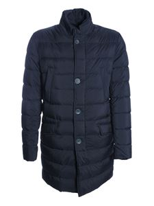 Herno - Long quilted down jacket in blue