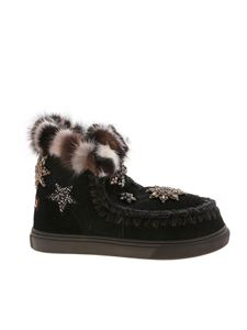 Mou - Eskimo Star Patches and Mink Fur sneakers in black