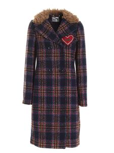 be Blumarine - Heart patch checked coat in blue