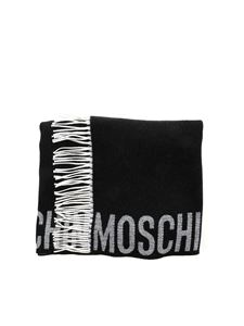 Moschino - Branded black scarf featuring hood