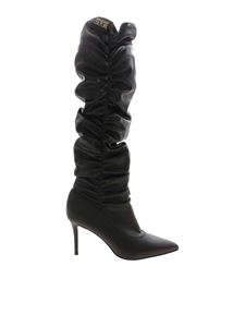 Versace Jeans Couture - Curled pointed boots in black
