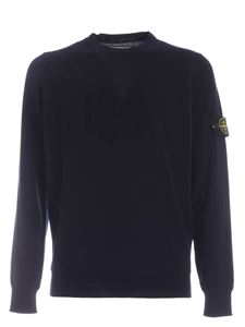 Stone Island - Logo patch pullover in dark blue