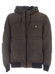 Stone Island - Iridescent hooded down jacket in green