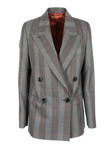 Acne Studios - Checked suit jacket in Blue Orange