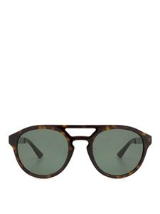 Gucci - Round brown sunglasses with double bridge