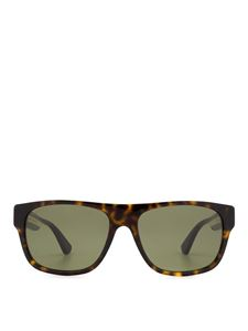 Gucci - Brown havana sunglasses with striped temples